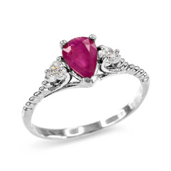 Ruby and White Topaz Stackable White Gold Rope Band Promise Ring