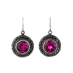 Sterling Silver Pink Sapphire Earrings