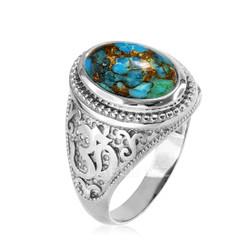 White Gold Turquoise Om ring.