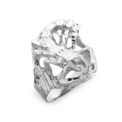 Sterling Silver Scorpion Diamond Cut Ring