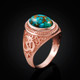 Gold Om Ring with Blue Copper Turquoise