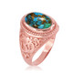 Rose Gold Turquoise Om ring.
