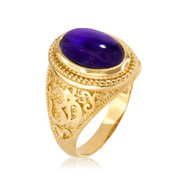 Gold Om ring with Amethyst Birthstone