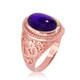 Rose Gold Om ring with Amethyst birthstone