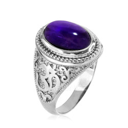 Silver Om ring with Amethyst birthstone