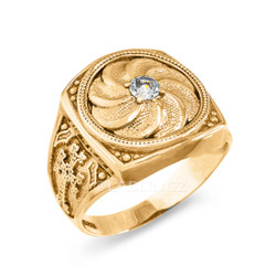 Polished Gold Armenian Eternity Diamond Ring