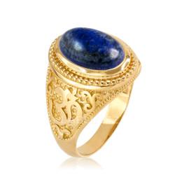 Gold Lapis Lazuli Om Ring