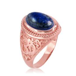 Rose Gold Lapis Lazuli Om Ring
