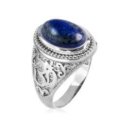 Silver Lapis Lazuli Om ring