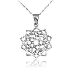 White Gold Sahasrara Lotus Unity Chakra Yoga Pendant Necklace