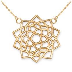 14K Gold Sahasrara Lotus Unity Chakra Yoga Necklace