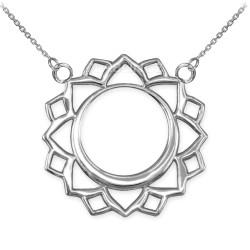 14K White Gold Vishuddha Chakra Yoga Necklace