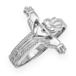 White Gold Irish Claddagh Cross Ring