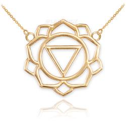 14K Yellow Gold Manipura Chakra Womens Yoga Necklace
