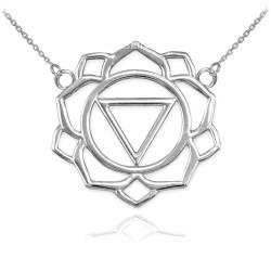 14K White Gold Manipura Chakra Womens Yoga Necklace