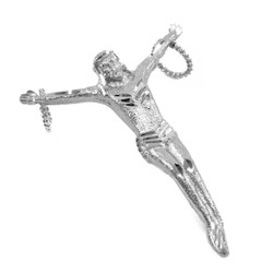 White Gold Crossless Crucifix Large Pendant