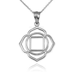 White Gold Muladhara Chakra Yoga Pendant Necklace