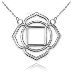 14K White Gold Muladhara Chakra Womens Yoga Necklace