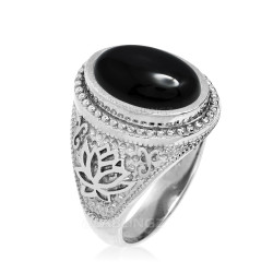 Sterling Silver Black Onyx Yoga Lotus Statement Ring