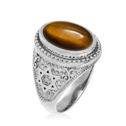 Sterling Silver Star of David Tiger Eye Jewish Statement Ring