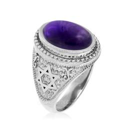 Sterling Silver Star of David Amethyst Cabochon Jewish Statement Ring