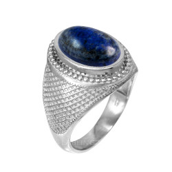 Sterling Silver Oval Lapis Lazuli Gemstone Statement Ring
