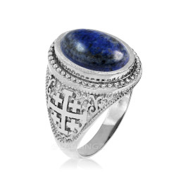 White Gold Jerusalem Cross Lapis Lazuli Gemstone Statement Ring