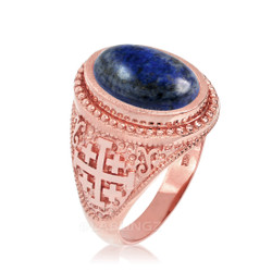 Rose Gold Jerusalem Cross Lapis Lazuli Gemstone Statement Ring