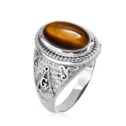 White Gold Masonic Tiger Eye Gemstone Statement Ring
