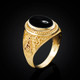 Gold Masonic Ring with black Onyx Cabochon