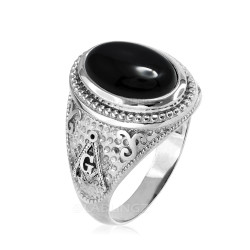 White Gold Masonic Black Onyx Statement Ring
