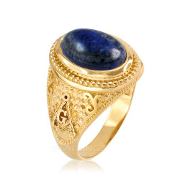 Yellow Gold Masonic Lapis Lazuli Gemstone Statement Ring
