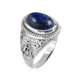White Gold Masonic Lapis Lazuli Gemstone Statement Ring