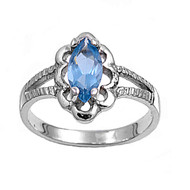Marquise Flower Filigree Blue Simulated Topaz Cubic Zirconia Petite Rings Sterling Silver 925