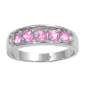 Five Stones Center Pink Cubic Zirconia Petite Rings Sterling Silver 925