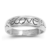 Engraved Love Petite Rings Sterling Silver 925