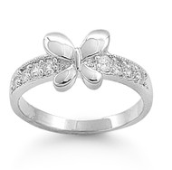 Butterfly Bliss Petite Cubic Zirconia Ring Sterling Silver 925