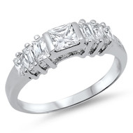 Princess Cut Center Cubic Zirconia Ring Sterling Silver 925