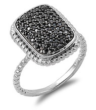 Pave Designer Black Cubic Zirconia Ring Sterling Silver 925