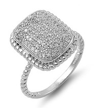 Pave Designer Cubic Zirconia Ring Sterling Silver 925