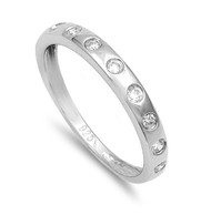 Round Cubic Zirconia Ring Sterling Silver 925