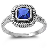 Braided Square Simulated Sapphire Cubic Zirconia Ring Sterling Silver 925