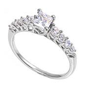 Princess Cut Center Designer Cubic Zirconia Ring Sterling Silver 925