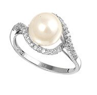 Hera Simulated Pearl Cubic Zirconia Ring Sterling Silver 925