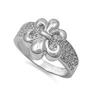 Fleur De Lis Cubic Zirconia Ring Sterling Silver 925
