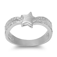 Star Cubic Zirconia Ring Sterling Silver 925