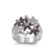 Flowers Cubic Zirconia Ring Sterling Silver 925