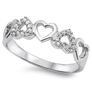 Hearts Cubic Zirconia Ring Sterling Silver 925