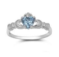 Claddagh Benediction Simulated Aquamarine Cubic Zirconia Ring Sterling Silver 925