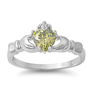 Claddagh Benediction Simulated Peridot Cubic Zirconia Ring Sterling Silver 925